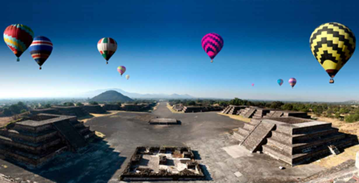 Hot air balloon flying in Mexico